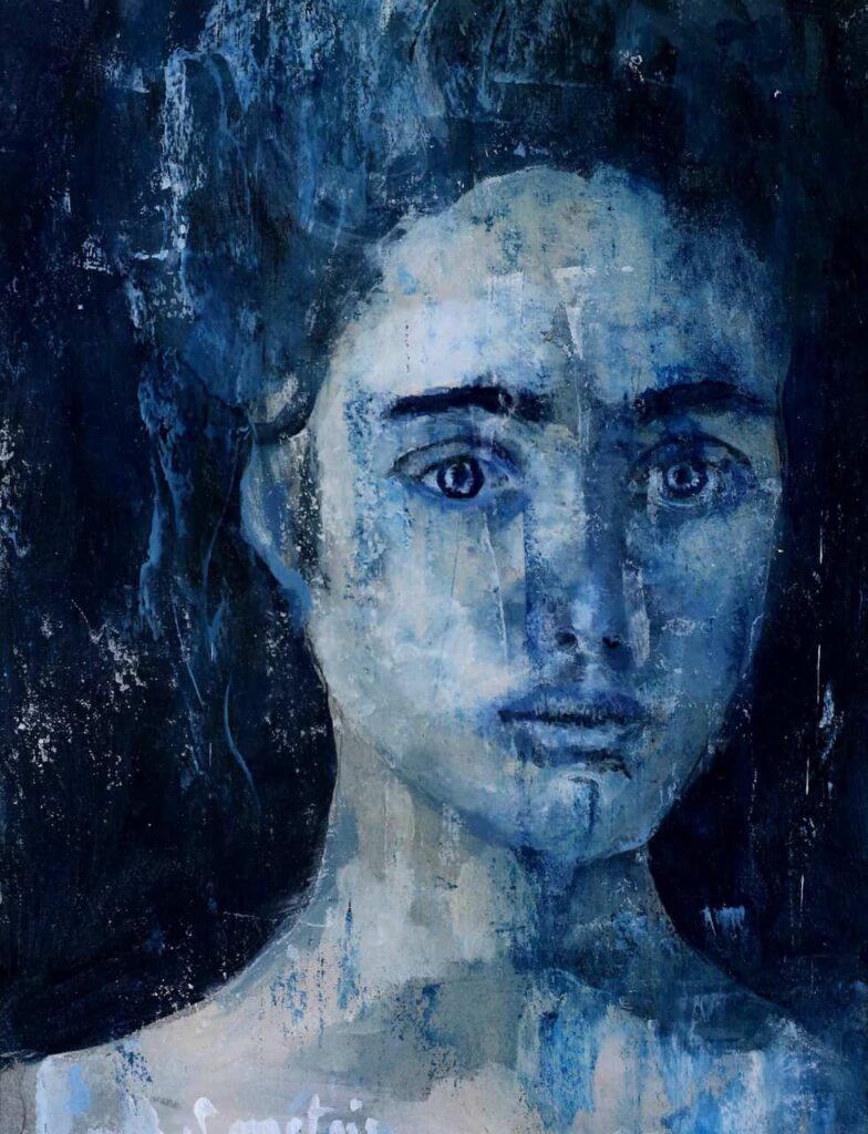 portrait acrylique bleu
