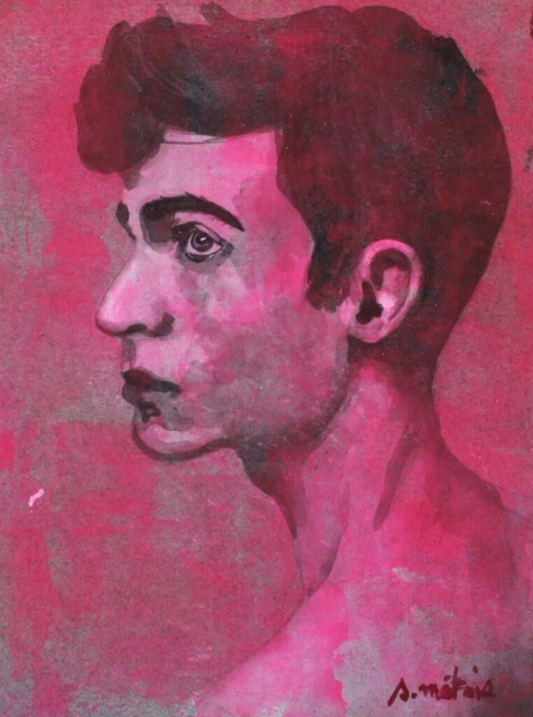 portrait acrylique rose fluo