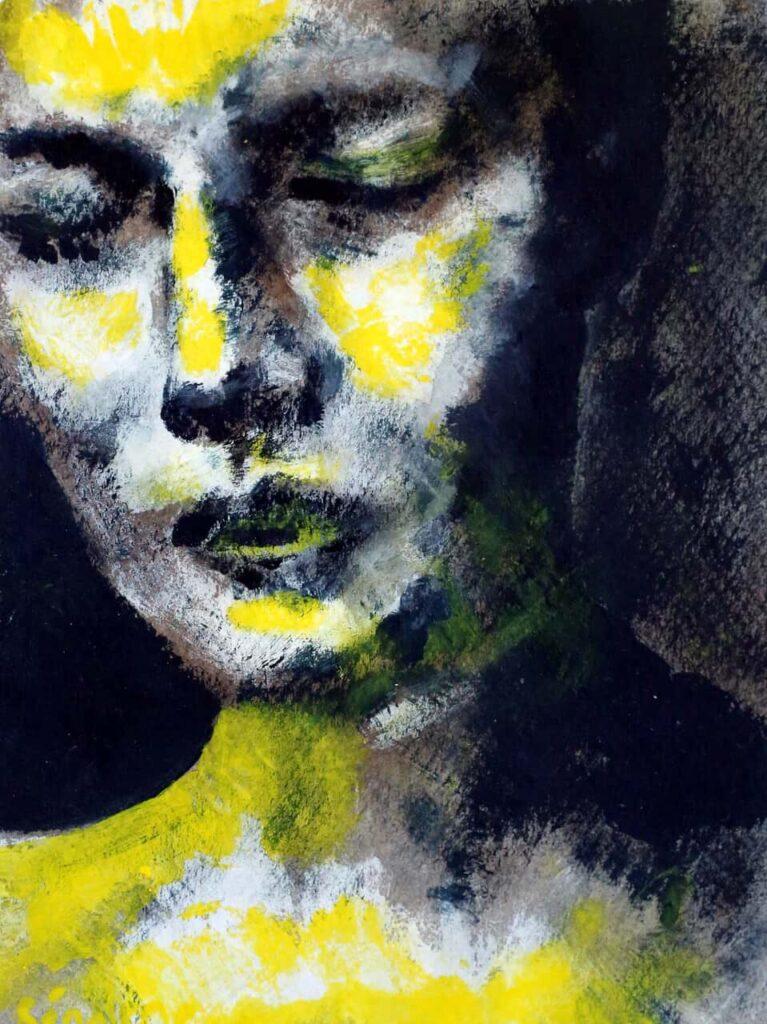 portrait acrylique jaune